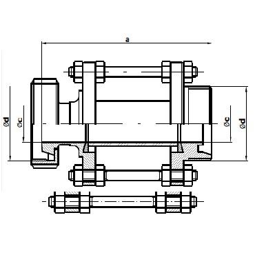Диоптр трубный конус-гайка/резьба 5158 схема