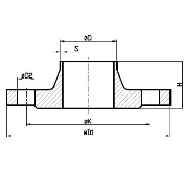 Фланец PN 16 AISI 304/316L схема