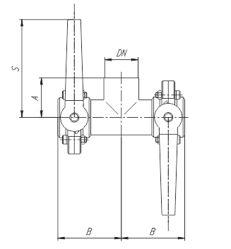 Клапан трехходовой с двумя затворами (слева, справа) ccc схема