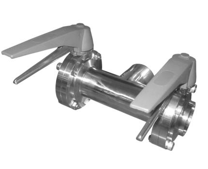 Клапан трехходовой с двумя затворами (слева, справа) ccc