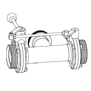Клапан трехходовой с двумя затворами (слева, справа) ррр схема