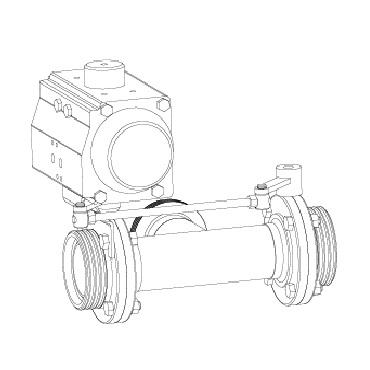 4332 P 05 Клапан трехходовой с двумя затворами сопряженный (центр, справа) с электроприводом 4456 резьба/резьба/резьба схема