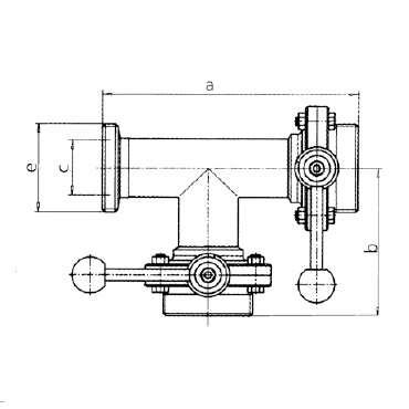 Клапан трехходовой с двумя затворами (центр, справа) ррр схема
