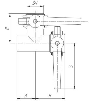 Клапан трехходовой с тремя затворами (центр, слева) ccc схема
