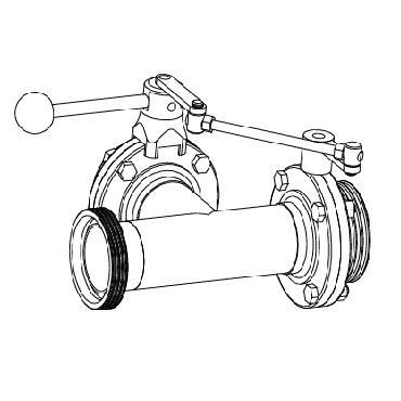 Клапан трехходовой с двумя затворами (центр, слева) ррр схема