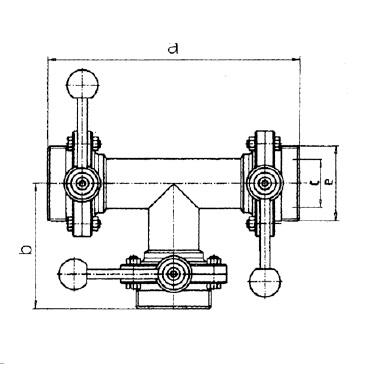 Клапан трехходовой с тремя затворами (центр, слева, справа) ррр схема