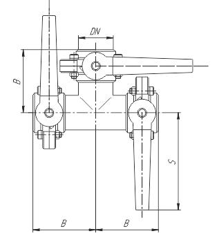 Клапан трехходовой с тремя затворами (центр, слева, справа) ccc схема