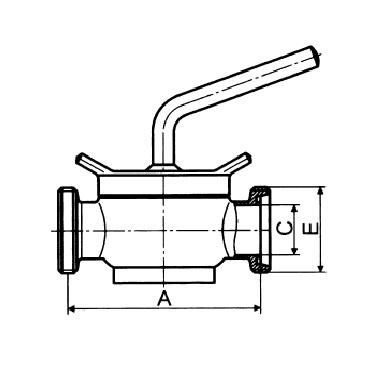 Кран конический AISI 304/316L резьба/резьба схема