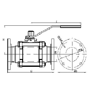 Кран шаровой AISI 304/316L фланец/фланец из трех частей схема