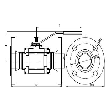 Кран шаровой PN 16 AISI 304/316L фланец/фланец из трех частей схема