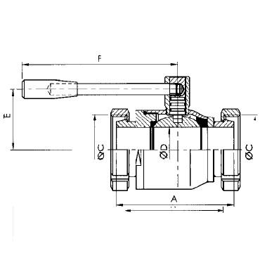 Кран шаровой AISI 304/316L конус гайка/конус гайка схема
