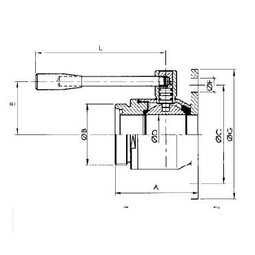 Кран шаровой AISI 304/316L резьба/фланец схема