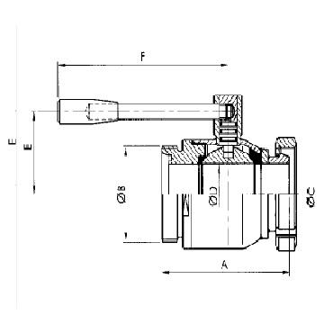 Кран шаровой AISI 304/316L резьба/конус гайка схема