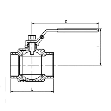 Кран шаровой AISI 304/316L резьба/резьба из двух частей схема