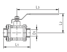 Кран шаровой AISI 304/316L резьба/резьба из трех частей схема