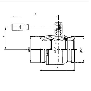 Кран шаровой AISI 304/316L резьба/резьба схема