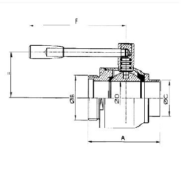 Кран шаровой AISI 304/316L резьба/сварка схема