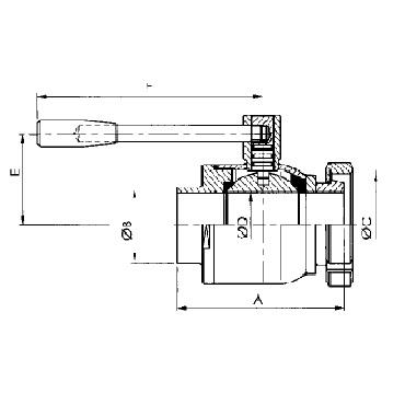 Кран шаровой AISI 304/316L сварка/конус гайка схема