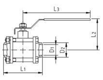 Кран шаровой AISI 304/316L сварка/сварка из трех частей схема