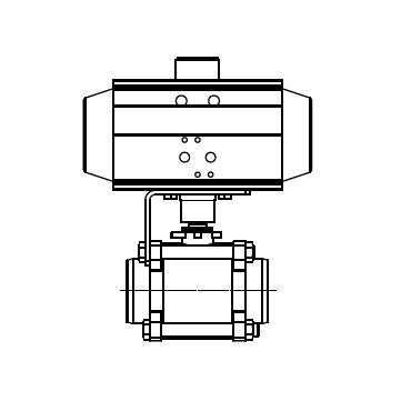 Кран шаровой AISI 304/316L сварка/сварка из трех частей с пневмоприводом AT DA 4410 схема
