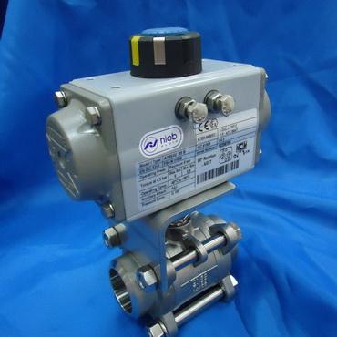 Кран шаровой AISI 304/316L сварка/сварка из трех частей с пневмоприводом AT DA 4410