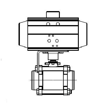 Кран шаровой AISI 304/316L сварка/сварка из трех частей с пневмоприводом AT SR 4405 схема