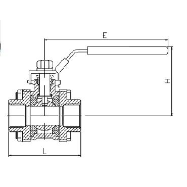 Кран шаровой AISI 304/316L резьба/резьба SMS из трех частей схема
