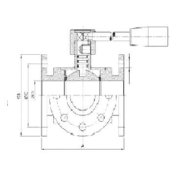 Кран шаровой трехходовой AISI 304/316L фланец/фланец/фланец схема