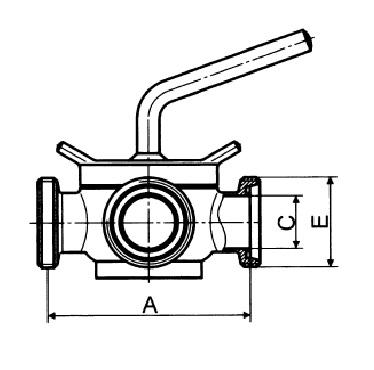 Кран конический трехходовой резьба/резьба/резьба схема