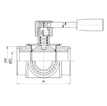 Кран шаровой трехходовой резьба/резьба/резьба схема