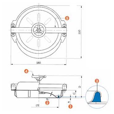Люк нержавеющий круглый схема 6016