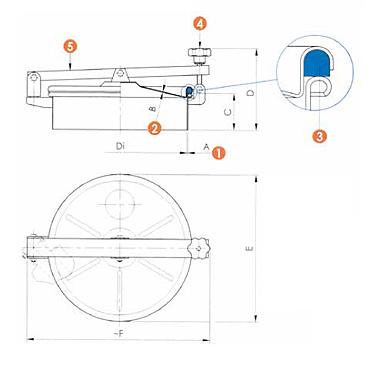 Люк нержавеющий круглый схема 6022