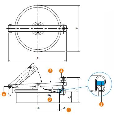 Люк нержавеющий круглый схема 6022ECO