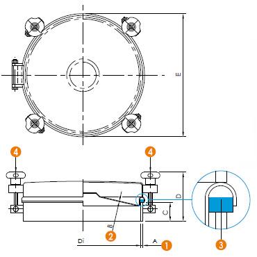 Люк нержавеющий круглый схема 6023H