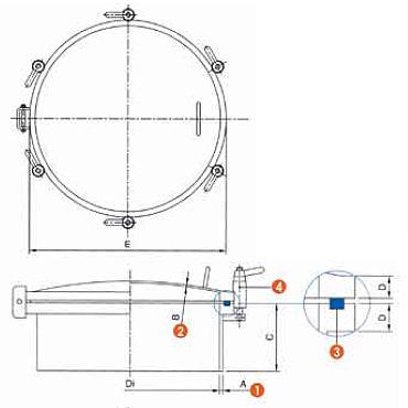 Люк нержавеющий круглый схема 6025L