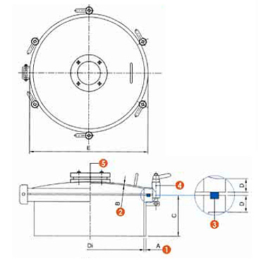 Люк нержавеющий круглый схема 6025P