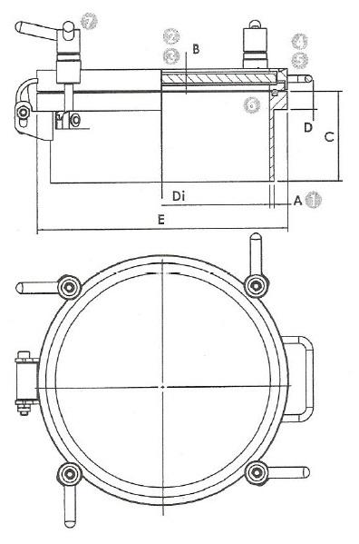 Люк нержавеющий круглый схема 6025V
