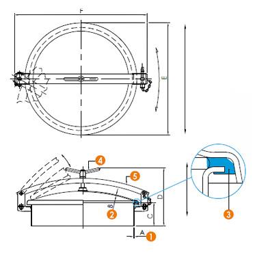 Люк нержавеющий круглый схема 6026