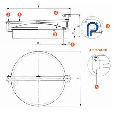 Люк нержавеющий круглый схема 6027A