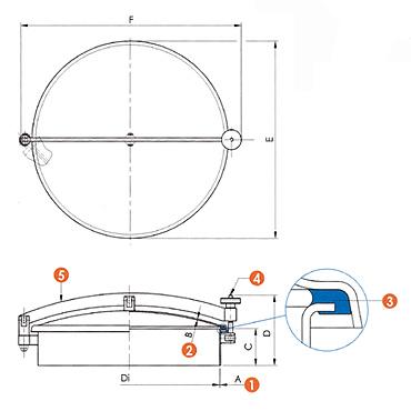 Люк нержавеющий круглый схема 6027L