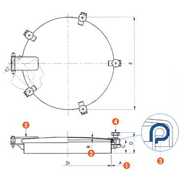Люк нержавеющий круглый схема 6028A