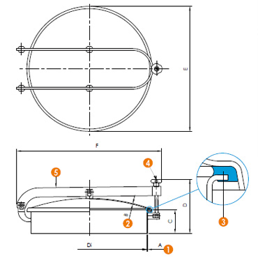 Люк нержавеющий круглый схема 6028E