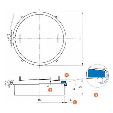 Люк нержавеющий круглый схема 6029P