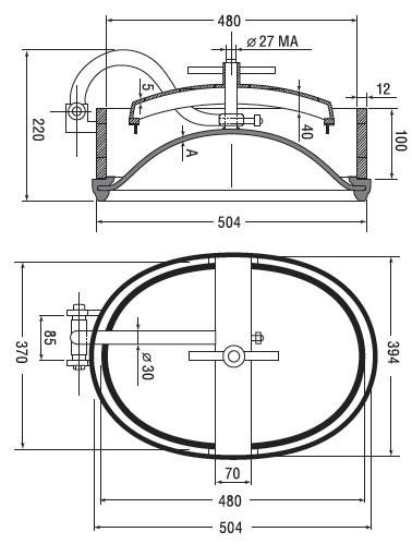Люк нержавеющий овальный схема A11