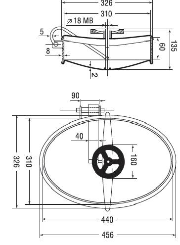 Люк нержавеющий овальный схема A8