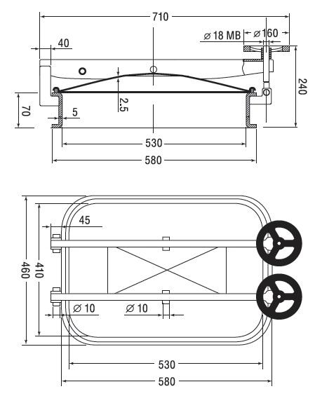 Люк нержавеющий прямоугольный схема B11