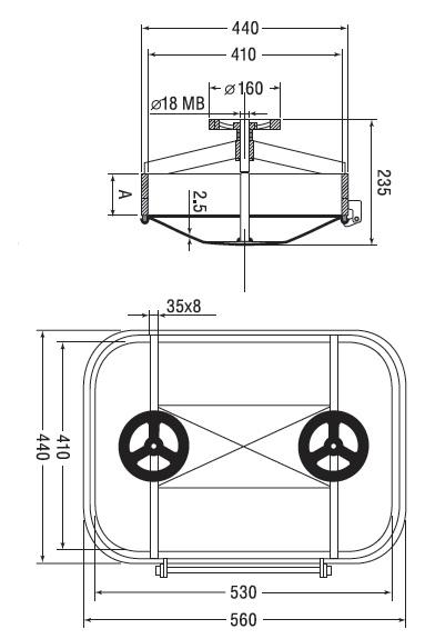 Люк нержавеющий прямоугольный схема B12