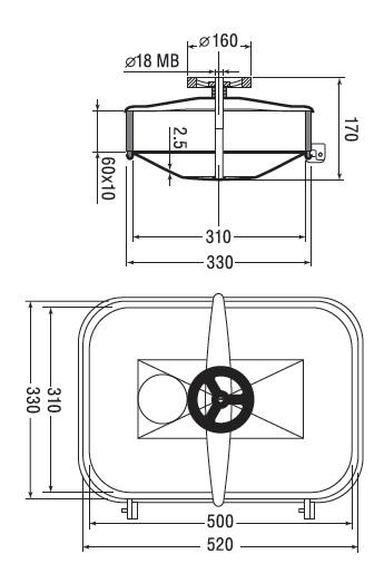 Люк нержавеющий прямоугольный схема B13
