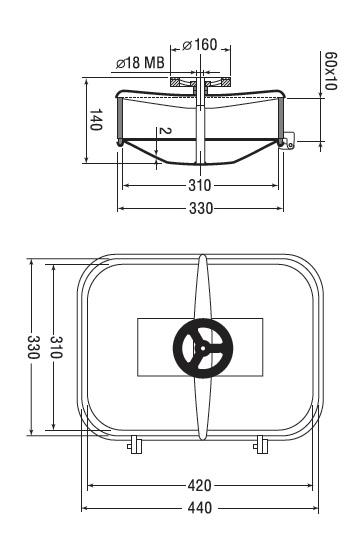 Люк нержавеющий прямоугольный схема B14