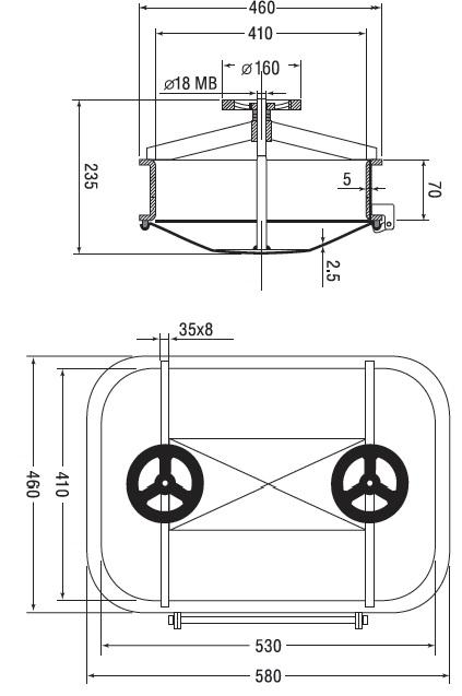 Люк нержавеющий прямоугольный схема B15